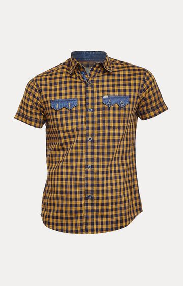 Crimsoune Club | Yellow and Navy Checked Shirt