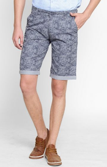 Crimsoune Club | Navy Blue Printed Shorts