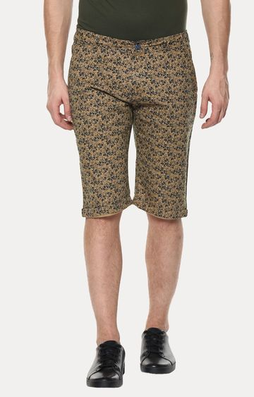 Crimsoune Club | Khaki and Navy Floral Shorts