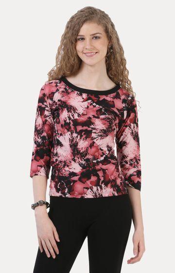 Crimsoune Club | Pink and Black Printed Top