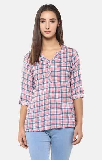 Crimsoune Club | Pink and Blue Checked Top