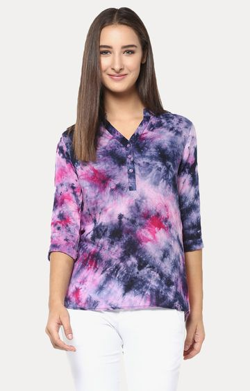 Crimsoune Club | Pink and Navy Printed Top