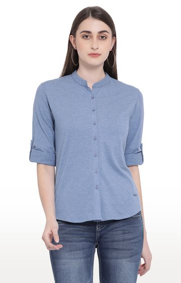 Crimsoune Club | Blue Melange Casual Shirt