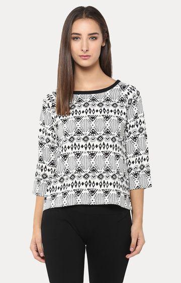 Crimsoune Club | Black and White Printed Top