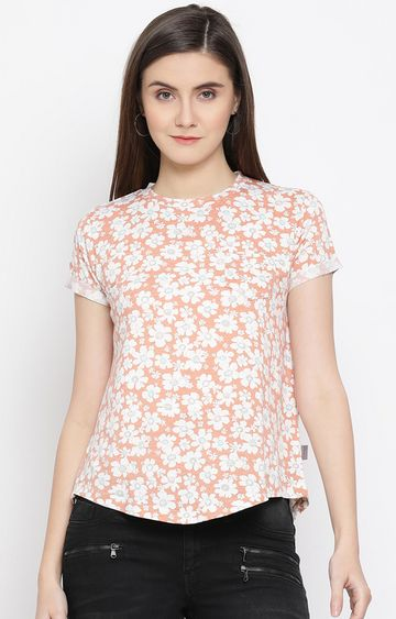 Crimsoune Club | Orange Printed Top