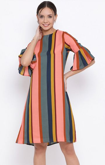 Crimsoune Club | Multicoloured Striped Shift Dress
