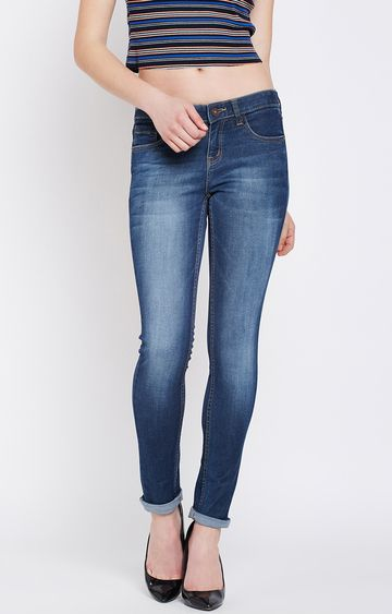 Crimsoune Club | Blue Solid Straight Jeans