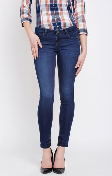 Crimsoune Club | Dark Blue Solid Straight Jeans
