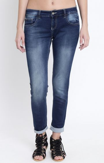 Crimsoune Club | Dark Blue Solid Straight Jeans