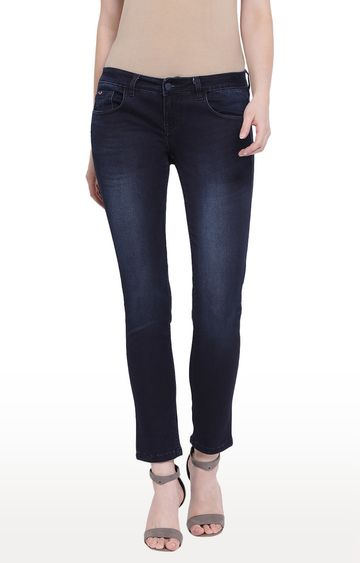 Crimsoune Club | Blue Solid Slim Fit Jeans