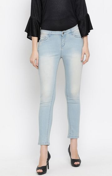 Crimsoune Club | Blue Solid Cropped Jeans