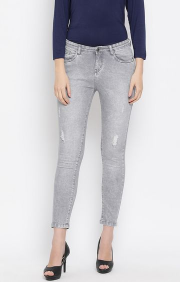 Crimsoune Club | Grey Solid Ripped Jeans