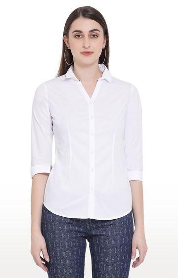 Crimsoune Club   White Solid Casual Shirt