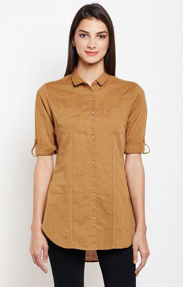 Crimsoune Club   Mustard Melange Casual Shirt