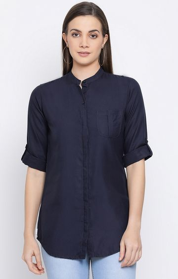 Crimsoune Club | Navy Solid Casual Shirt