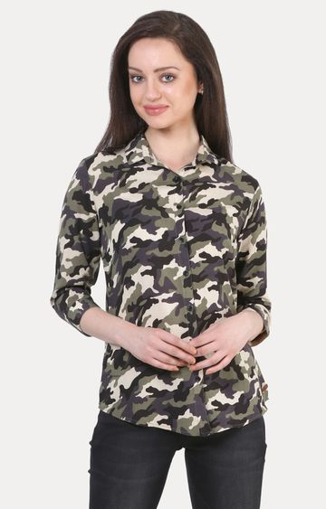 Crimsoune Club | Olive Camouflage Casual Shirt