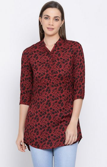 Crimsoune Club | Red Printed Top