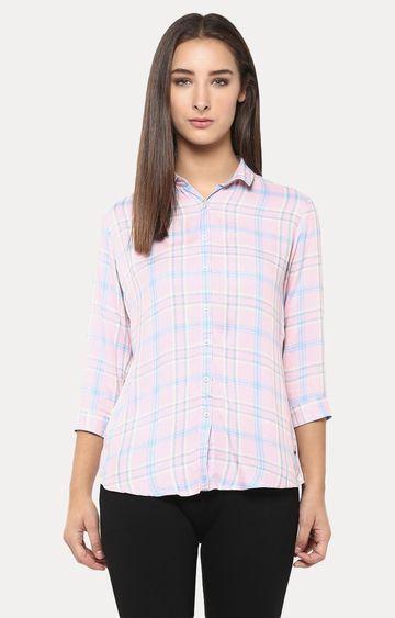 Crimsoune Club | Pink Checked Casual Shirt