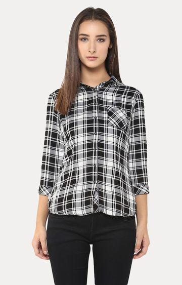 Crimsoune Club | Black and White Checked Casual Shirt