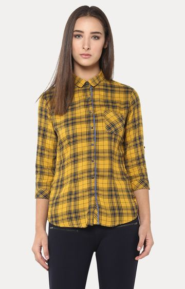 Crimsoune Club | Mustard and Black Checked Casual Shirt
