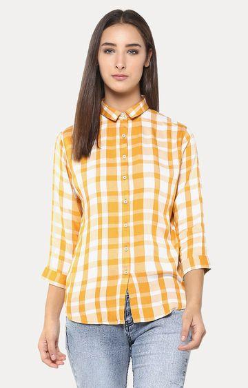 Crimsoune Club   Orange and White Checked Casual Shirt