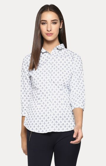 Crimsoune Club | White and Navy Printed Casual Shirt