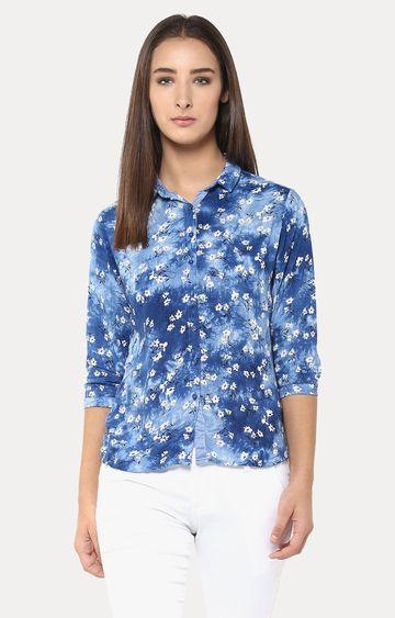 Crimsoune Club | Blue and White Printed Casual Shirt