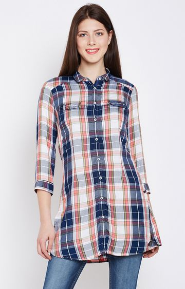 Crimsoune Club | Pink and Blue Checked Tunic