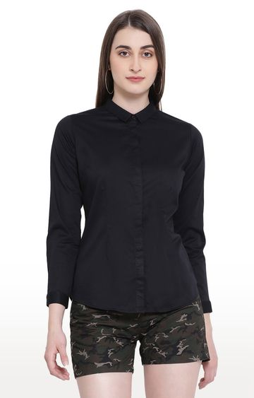 Crimsoune Club | Black Solid Casual Shirt