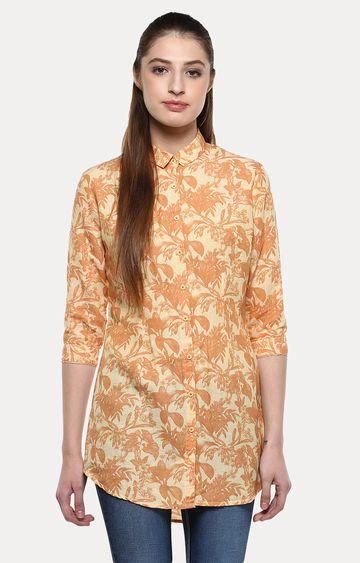 Crimsoune Club   Yellow Printed Casual Shirt