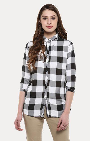 Crimsoune Club   Grey and Black Checked Casual Shirt