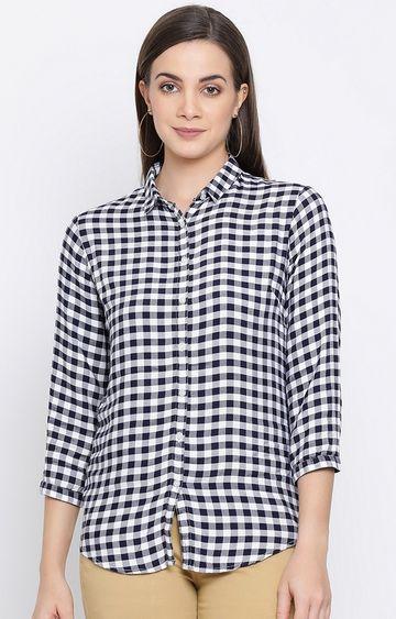 Crimsoune Club | White Checked Casual Shirt