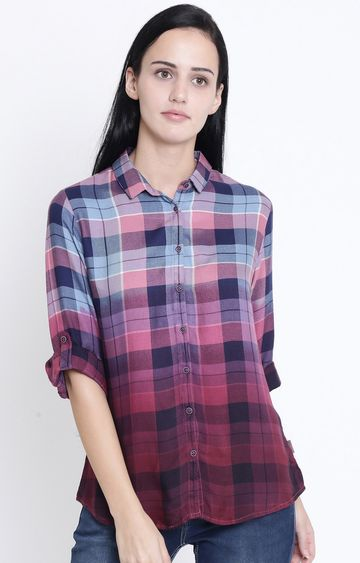 Crimsoune Club | Pink and Blue Checked Casual Shirt