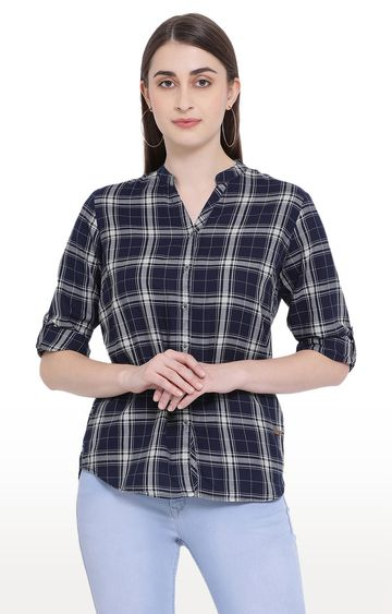 Crimsoune Club | Navy Checked Casual Shirt
