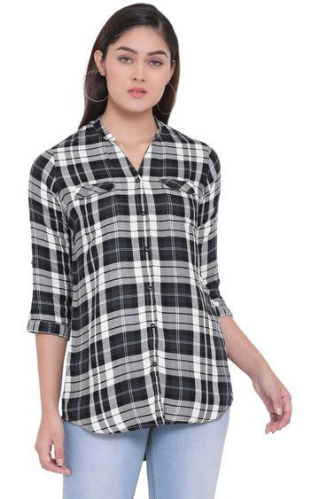 Crimsoune Club | Black Checked Casual Shirt