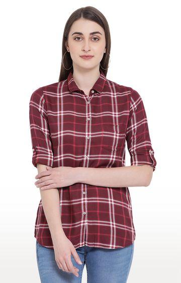 Crimsoune Club   Maroon Checked Casual Shirt
