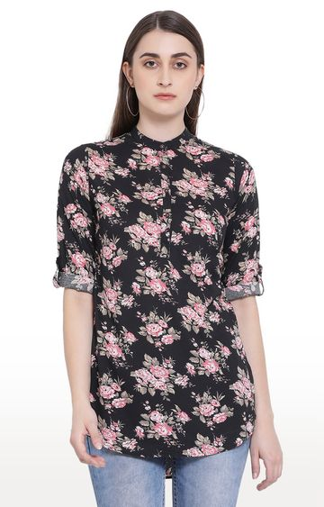 Crimsoune Club | Black Floral Casual Shirt