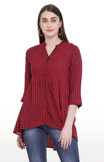 Crimsoune Club | Red Checked Peplum Top