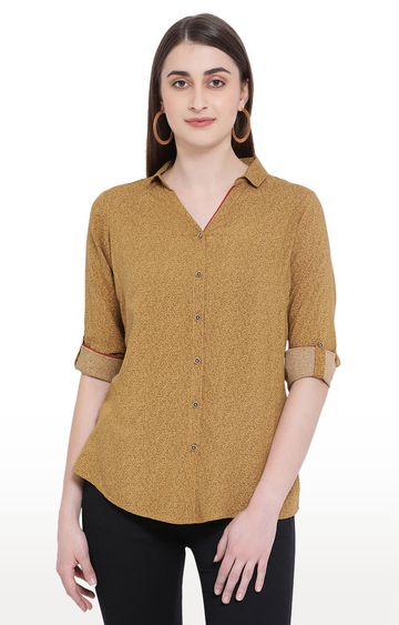Crimsoune Club | Yellow Printed Casual Shirt