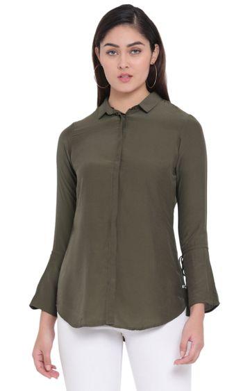 Crimsoune Club   Dark Green Solid Casual Shirt