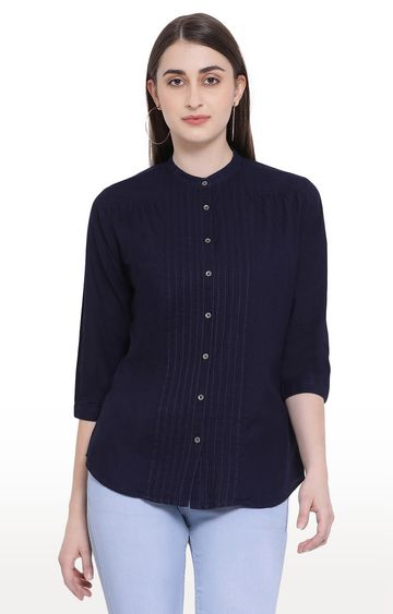 Crimsoune Club | Navy Solid Casual Shirt