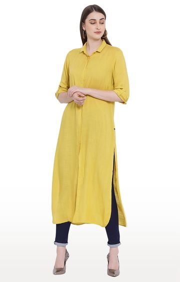 Crimsoune Club | Yellow Solid Tunic