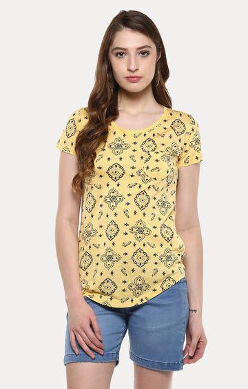 Crimsoune Club   Yellow Printed T-Shirt