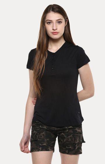 Crimsoune Club   Black Solid T-Shirt