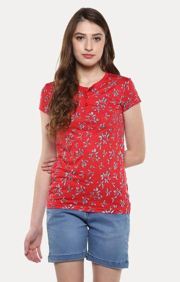 Crimsoune Club | Red Floral T-Shirt