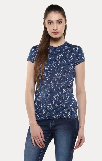 Crimsoune Club | Navy Blue Floral T-Shirt