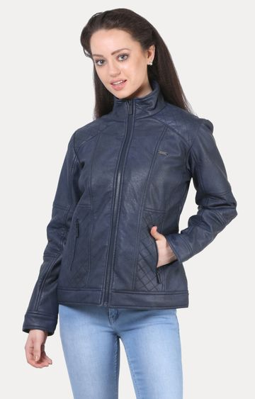Crimsoune Club | Navy Blue Solid Leather Jacket