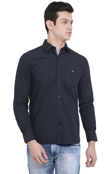 Crimsoune Club | Navy Checked Casual Shirt