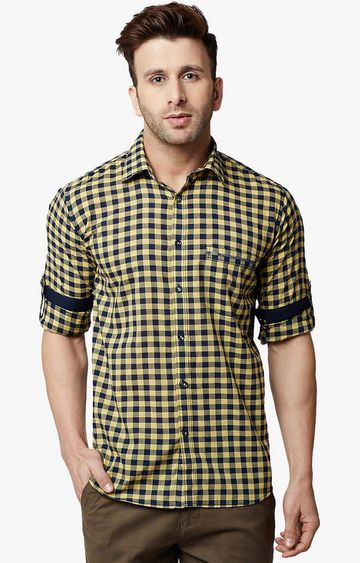 Crimsoune Club | Yellow and Navy Checked Casual Shirt