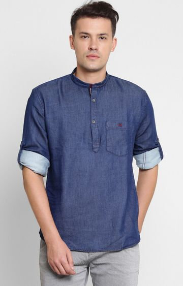 Crimsoune Club | Navy Blue Solid Casual Shirt